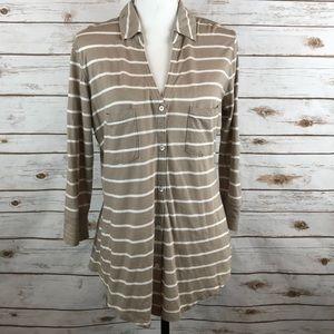 Express Portofino Striped Cotton Button Up Shirt